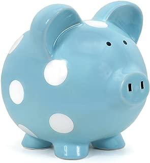 Child to Cherish Ceramic Polka Dot Piggy Bank for Boys, Light Blue