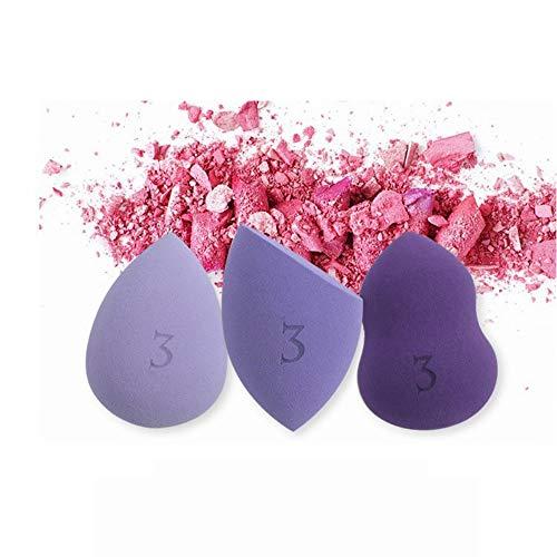 Drametree Boîte-Cadeau d'oeufs de beauté ne suce Pas Poudre éponge feuilletée Maquillage Oeuf Couleur Maquillage Oeuf Humide et Sec 3 Pack + Cadre en métal