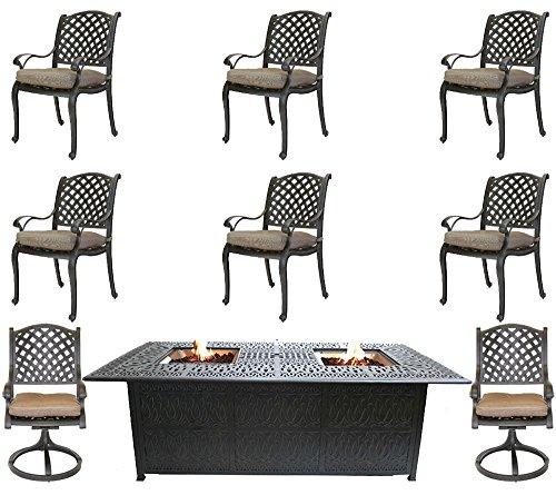 Luxury fire Pit Rectangle Outdoor Dining Set 9 Piece cast Aluminum Patio Furniture Sunbrella Cushions.
