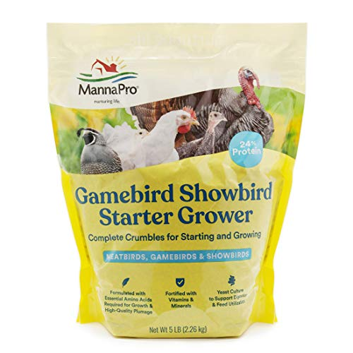 Manna Pro Gamebird Showbird Crumbles|Formulated with Vitamins & Minerals|5 Pounds