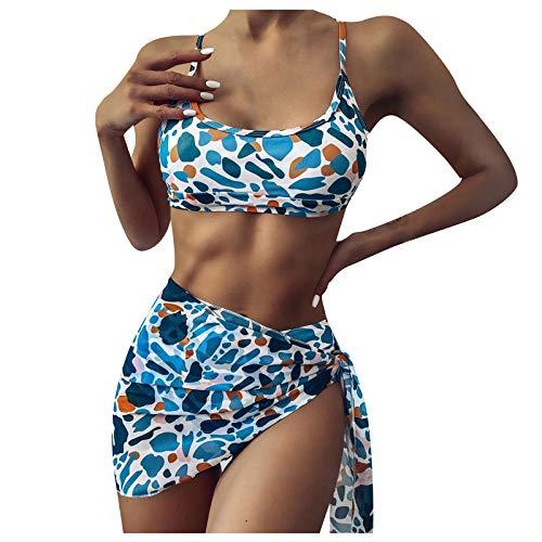 LANSKRLSP Costume Bagno Bikini Donna Triangolo Beachwear Sexy Lingerie Swimwear Slip Culotte Insieme Tre Pezzi del della Stampa Leopardo Modo delle Donne Signore,Blu,M