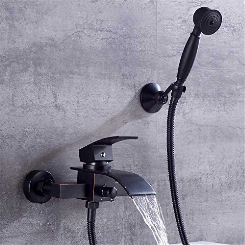 Electroplating Retro Faucet Amerikanischen Stil Einfach Schwarz Kupfer Badewanne Dusche Wasserhahn Bad Hei Und Kalt Wasser Mischen Badezimmer Dusche Set