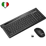 VicTsing Tastiera Wireless PC, Kit Tastiera e Mouse Senza Fili (8 Tasti di Scelta Rapida Mouse Ultra-Silenzioso) per Windows XP/Vista / 7/8/10, Linux, Mac, PC. Layout Italiano, Nero