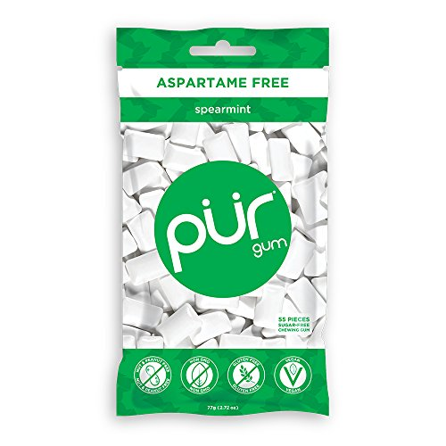 PUR 100% Xylitol Chewing Gum Spearmint  SugarFree  Aspartame Free Vegan  non GMO 55 Count Pack of 1