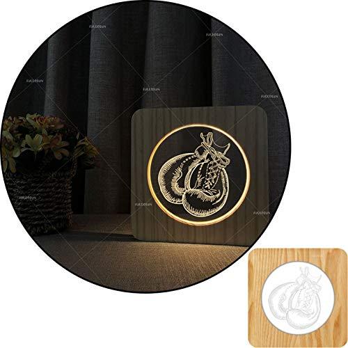 Forma de guante 3D Forma de madera tallada tallada blanca lámpara de mesa de luz, lámpara de cabecera 2.5W, lámpara de vivero, decoración del hogar o regalos para niños y adultos, sala de estar de dor