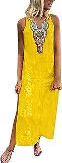 Kaftan Long Dress Womens Sleeveless Dress O Neck Split Hem Baggy Maxi Dress