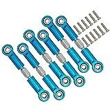 6pcs Metal Steering Linkage Servo Link Adjustable Pull Rod Turnbuckle A959-03 Fit RC 1/18 WLtoys A959 A969 A979 K929 (Blue)