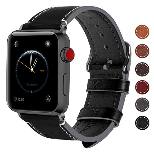Fullmosa Compatibile Cinturino per Apple Watch 38mm/40mm e 42mm/44mm, 8 Colori Wax Cinturino per iwatch Pelle, per Apple Watch Series 5,4,3,2,1, Uomo e Donna, 42mm/44mm Nero + Fibbia Grigia fumé