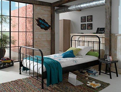 Dreams4Home Metallbett \'Difo VIII\' - Jugendbett, Kinderbett, Einzelbett, Singlebett, Maße: (B/H/T) 129 x 111 x 210 cm, Kinderzimmer, Jugendzimmer, Schlafzimmer, Gästezimmer, modern, 1 Lattenrost, Rohrrahmen, Pulverbeschichtet, in schwarz