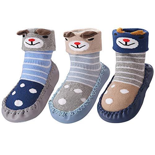 Hoylson Unisex-Baby Socken Hüttenschuh Babyschuhe Krabbelschuhe Kleinkind Lauflernschuhe Mit Anti-Rutschsohle für Jungen und Mädchen 0-24 Monate (S: 10-18 Monate, Blau)