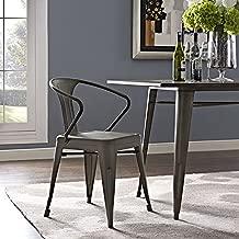 Modway Promenade Modern Aluminum Bistro Dining Chair in Brown