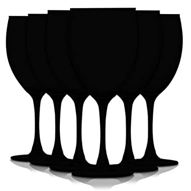 Black 10 oz Nuance Full Accent Wine Glasses - Set of 6 by TableTop King - Additional Vibrant Colors Available