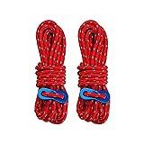 Cuerda de nylon reflexiva, cuerda de la tienda del cordón de 2PCS los 4M, 4MM que acampa para la tienda de campaña al aire libre (Rojo)