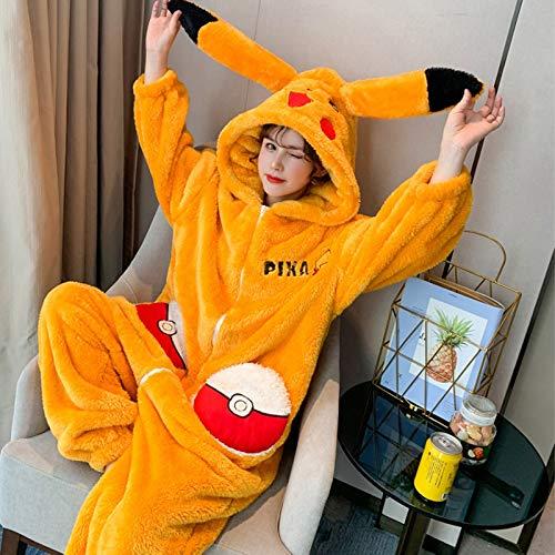 XQYPYL Mujer Pikachu Pijamas Adulto Caliente Animal Pijamas Cosplay Disfraz Homewear Mamelucos Ropa De Dormir,L