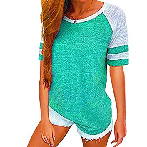 Grenzüberschreitende europäische und amerikanische Explosive Damenbekleidung 2020 AliExpress Amazon Sommer heißer Kontrast locker kurzärmeliges T-Shirt Top