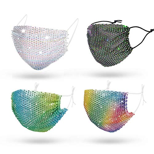 Sparkly Rhinestone Mesh Face Mask,Masquerade Decorative Mask for Women,Bling Glitter Face Mask for Valentine's Day Party (rainbow&gradient)