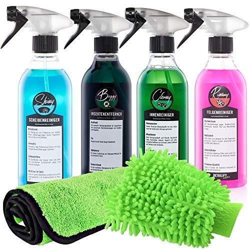 Detailify Autopflege Set Taily All in One Autoreinigungsset Autowaschset Innenreiniger Außenpflege Felgenreiniger Insektenentferner Waschhandschuh Lack Detailing Set