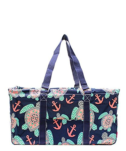 N. Gil All Purpose Open Top 23' Classic Extra Large Utility Tote Bag (Sea Turtle Navy Blue)