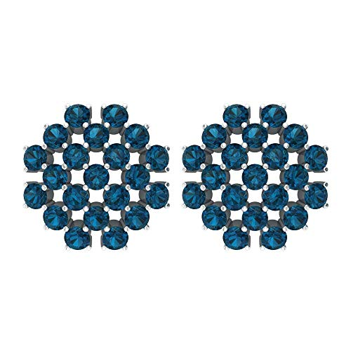 2.1 Ct Blue Topaz London Wedding Earring, Statement Women Stud Earring, Certified Gemstone Cluster Gold Promise Earring, Unique Wedding Bridal Earring, 10K White Gold, Pair