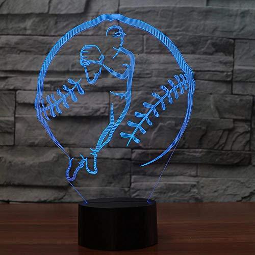 Lanzador de béisbol Luz de noche LED Varios colores Lámpara de mesa Decoración Luz Amigos Regalo Luz