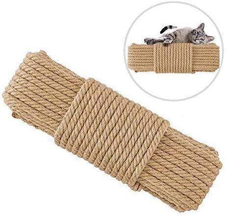 Corda in Sisal naturale per gatto, lunghezza 20 m, corda di canapa di ricambio per albero di gatto e torre, corda di iuta, corda di Sisal per recuperare o graffiare gatti fai da te, vaso decorativo