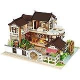 Eternitry DIY Holz Puppenhaus Antike Architektur Puppenhaus Handgemachte Miniatur Kit Ohne...