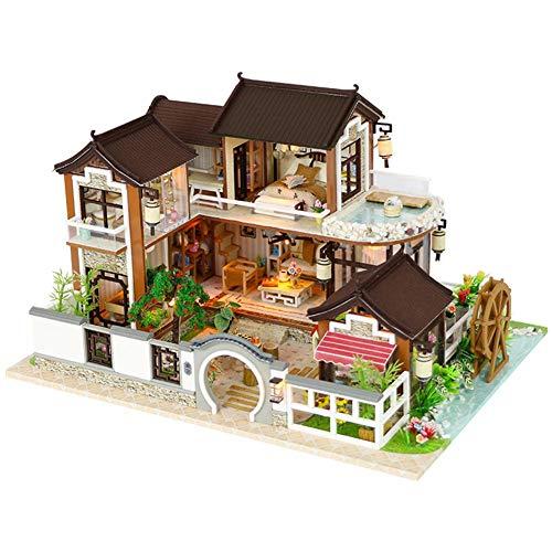 lingzhuo-shop Puppenhaus Bausatz DIY Puppenhaus Miniatur Haus Holz Selber Bauen Haus Zum Basteln Zubehör Lernspielzeug Spielzeug Kinder Antike Architektur Ohne Staubschutz mit LED-Leuchten 32x24x19cm