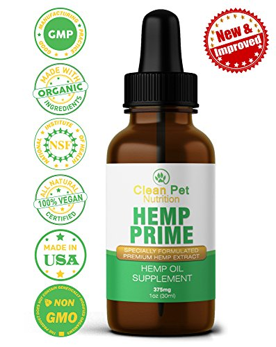 Hemp Oil For Dogs & Cats (375mg) - Full Spectrum Organic Drops Hemp Oil For Anxiety & Stress Relief- Arthritis Pain Relief - Hip & Joint Dog Supplement- Apply To Hemp Prime Treats