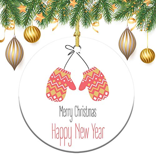 Monogram Ornament Wreath Ornament Xmas Tree Ornament Custom 2020 Ornament Merry Christmas and New Year with Gloves Ornament,Christams Xmas Gift,Christmasation,Round Keepsake