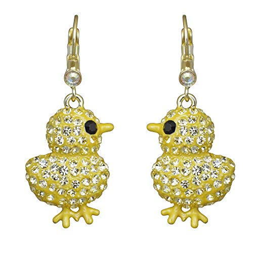 Kirks Folly Chickadee Leverback Earrings Adorable Easter Chick with Sparkling Crystals
