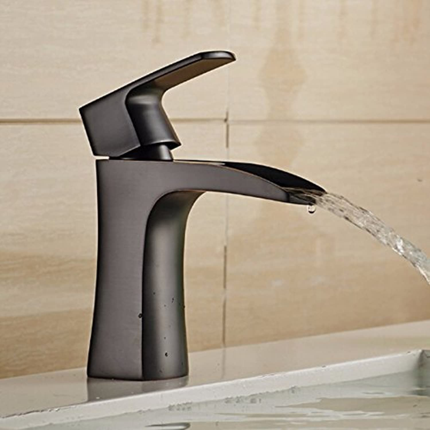 Makej Vidric New Arrival Waterfall Faucet Bathroom Basin Faucet Black Oil-Rubbed Bronze Sink Faucet Deck Mounted Sink Mixer Water Tap,A