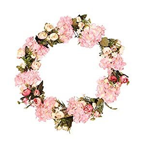 Wreaths for Front Door,Artificial Flower Spring Color Home Wreath Wreath Door Hanging Simulation Camellia Hydrangea Decoration