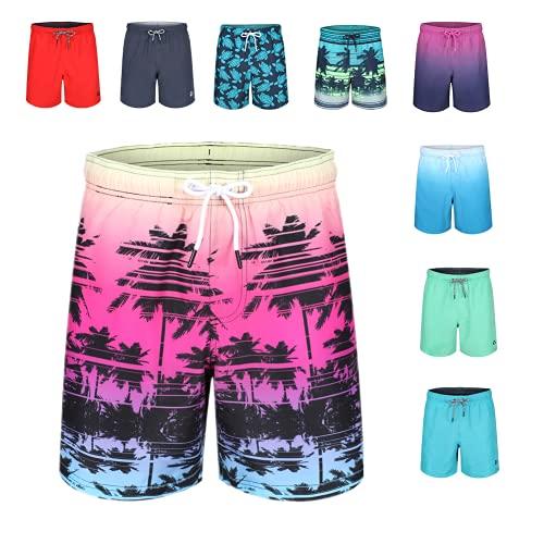 RIPT Performance Herren Ript Essentials Mens Palm Print Swim Trunks Shorts Badehose, Rose, Verschiedene Größen