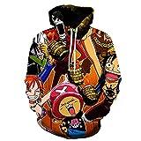 ZJYJSE Nueva Caricatura De Una Pieza D. Luffy 3D Hoodie Hombres Mujeres Casual Niños Niñas Streetwear Sudadera Chaqueta-Ws22217_4XL