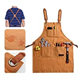 MSSOHKAN Tool Apron for Men with Pockets Woodworking Apron with Adjustable Belt and Cross-Back Strap Heavy Duty Work Apron for Women Waterproof Carpenter Apron Utility Apron