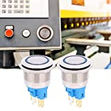 Interruptor de botón de anillo de autobloqueo de 6 pines con enchufe de cable Botón pulsador momentáneo DC12-24V para oficina(blue)