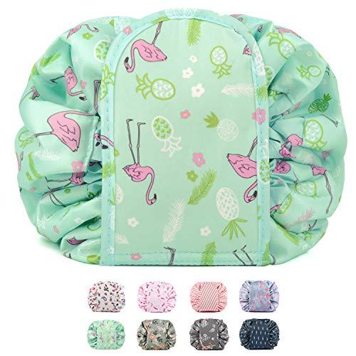 Bolsa de maquillaje portátil con cordón, bolsa de viaje para cosméticos, organizador de artículos de tocador, impermeable, grande para mujeres y niñas (flamenco verde)