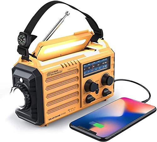 Weather Radio Raynic 5000mAh Solar Hand Crank Emergency Radio 5 Ways Powered AM FM SW NOAA Weather Alert Portable Radio with Flashlight, Reading Lamp, Cellphone Charger and SOS Alarm (Yellow)
