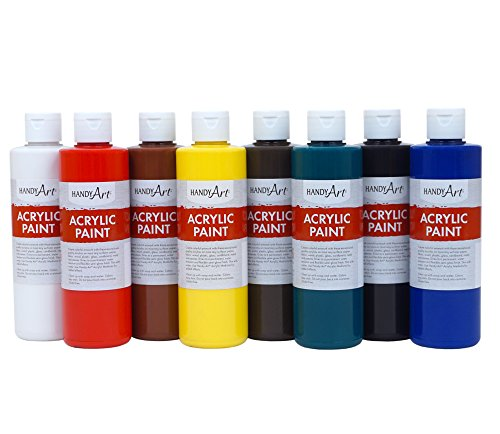Handy Art 8 Color - 8 Ounce Primary Acrylic Paint Set, Assorted