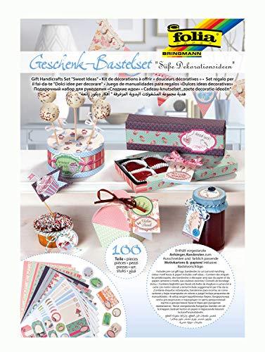 folia 979 - Geschenk - Bastelset Süße Dekoideen, Kreativset mit 100 Teilen, aus denen wunderschöne Geschenkverpackungen hergestellt werden können