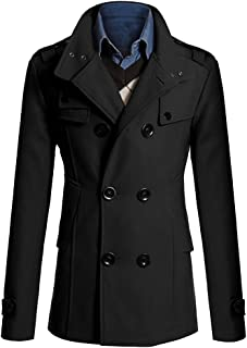 MISSMAO Men's Retro Jackets Slim Fit Double Breasted Half Trench Coat Black Classic Winter Trench Jacket