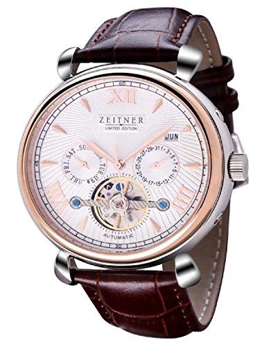 Zeitner, cronografo automatico con ingranaggi a vista, nero e acciaio con cinturino, orologio da uomo di design