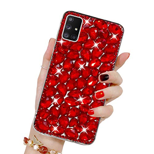 Bling Glitzer Hülle für Galaxy A71, Misstars 3D Diamant Strass Handyhülle Transparent Hart PC Rückschale mit Silikon TPU Rahmen Schutzhülle für Samsung Galaxy A71, Rot