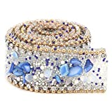 Cinta de cristal con brillantes de 2,5 cm, para costura, para ropa, accesorios Chaîne de perles doré pierre bleu royal