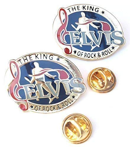 Emblems-Gifts Set of 2 Elvis King of Rock'n Roll Anstecknadel Abzeichen