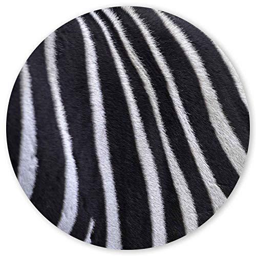 Mauspad im Zebra Design I Ø 22 cm rund I Tier-Motiv Animal Print Fell I Mausunterlage für Büro Gaming I Kunststoff abwischbar I rutschfest dünn I dv_809