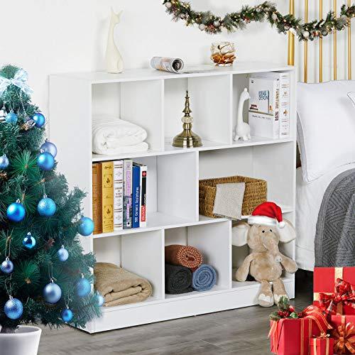 MSmask Bücherregal Fächern Aufbewahrungsregal aus Holz Standregal aus Holz mit offenen Fächern Raumteiler Standregal Vitrine für Wohnzimmer Schlafzimmer Kinderzimmer Büro (Color3)