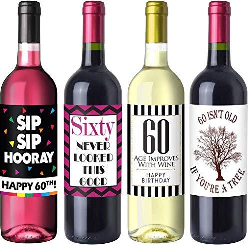 Sterling James Co. Schicke Weinflaschen-Etiketten für 60. Geburtstag – Geburtstagsparty Accessoires, Ideen und Dekorationen – Lustige Geburtstagsgeschenke für Frauen