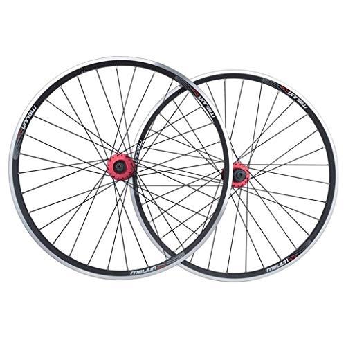 ZFF 26 '' Bicicletas montaña Bicicletas Juegos Ruedas, 32 Agujeros MTB Doble Pared sellada híbrido rodamientos Eje V-Brake/Freno Disco 9/10/11 Velocidad (Color : Black)