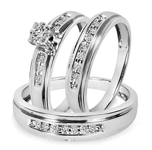 Ani's Juego de anillos de boda de 1/4 quilates para hombre y mujer con diamante redondo transparente D/VVS1 chapado en oro blanco de 14 quilates, plata 925